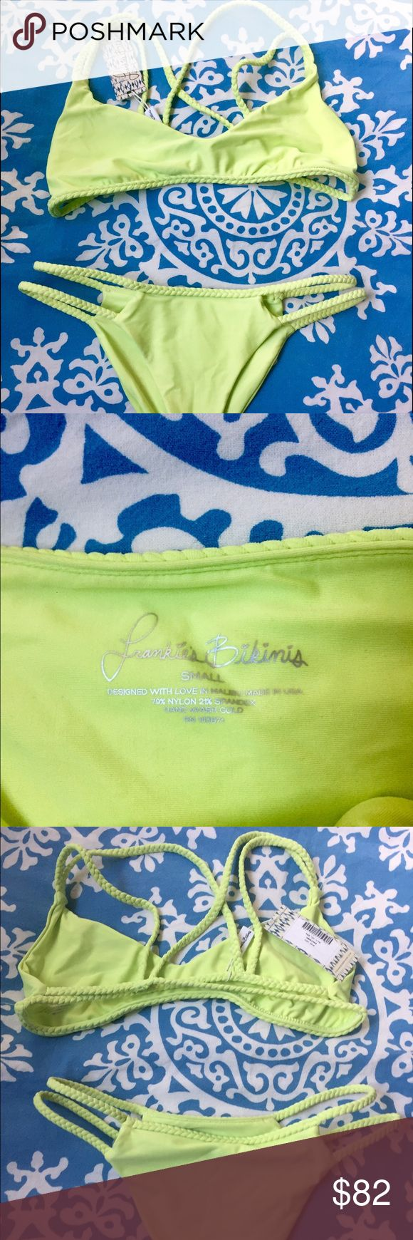 "Frankie's Bikinis ""Kaia"" Set in Lime NWT re-poshing because I already have a kini similar to this! Super bright and fun lime green color, flattering cut! Perfect for summer! No flaws! No trades please :) top & bottom both size Small Frankie's Bikinis Swim Bikinis"
