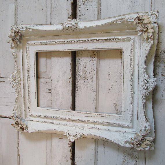 Shabby cottage white ornate frame large wooden distressed wall hanging French Nordic rose