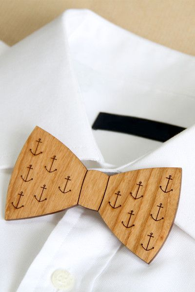 Ladybird Likes Wooden Bow Tie With Anchors