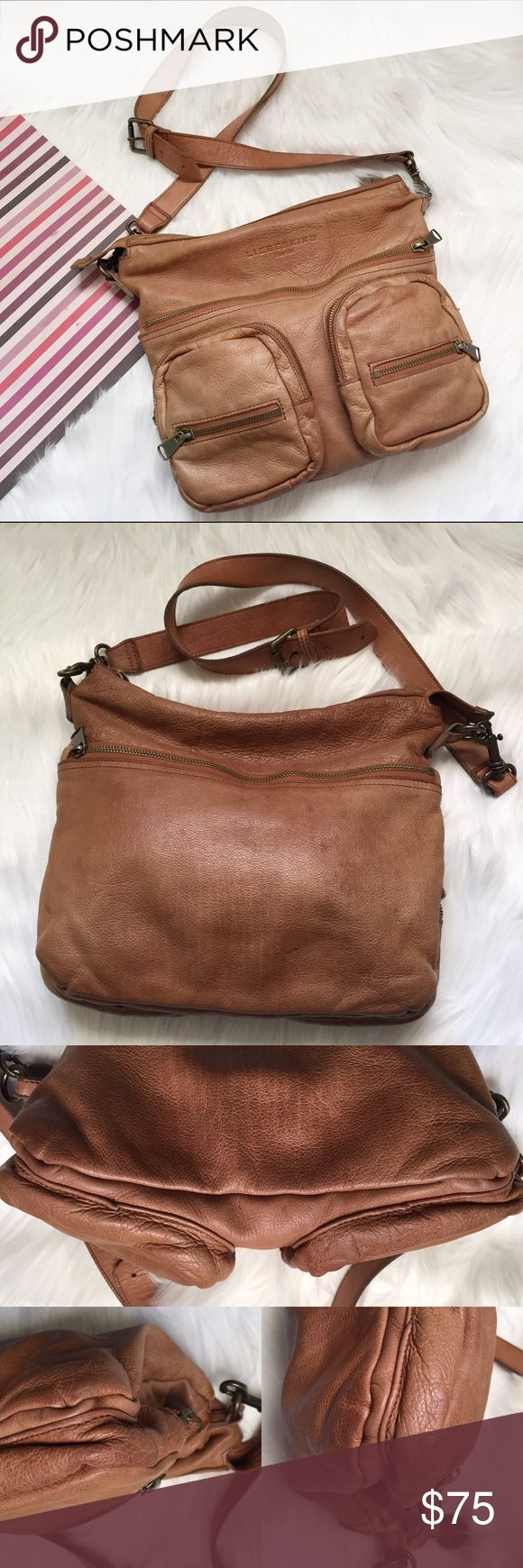 """Liebeskind Berlin Anny Leather Crossbody Bag Pre-loved, No dust bag, Women's Crossbody Bag, Soft weathered leather, with spacious interior and  multiple compartment, top zip closure, front and back exterior zip pockets, flannel lining, adjustable shoulder strap with 17""""-18"""" drop, 11.5"""" W x 11"""" H x 1.5"""" D. Light Cognac Color ( bag has uneven color ). Please feel free to ask questions. No trades. Liebeskind Bags Crossbody Bags"""