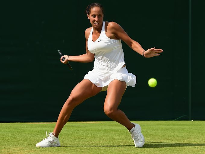 Madison Keys of the United States plays a forehand