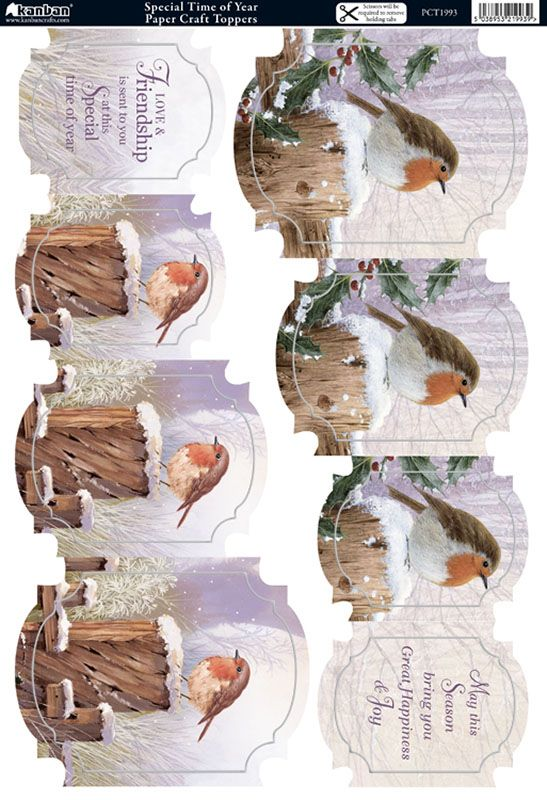 Kanban Christmas Robins Garden - foiled & die cut toppers - Special Time of…