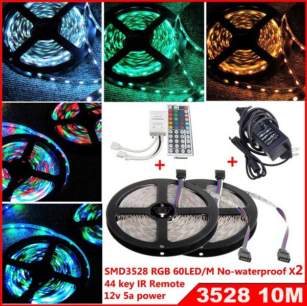 Find More LED Strips Information about 10M 300 led 3528 smd RGB led Strip Flexible Light Lamp DC12V non waterproof 60led/m 44Keys IR Remote Controller 5A power supply,High Quality LED Strips from Shenzhen MDL Technology Co.,Ltd on Aliexpress.com