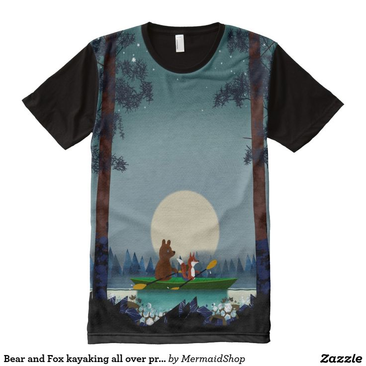 Bear and Fox kayaking all over print teeshirt All-Over Print T-shirt