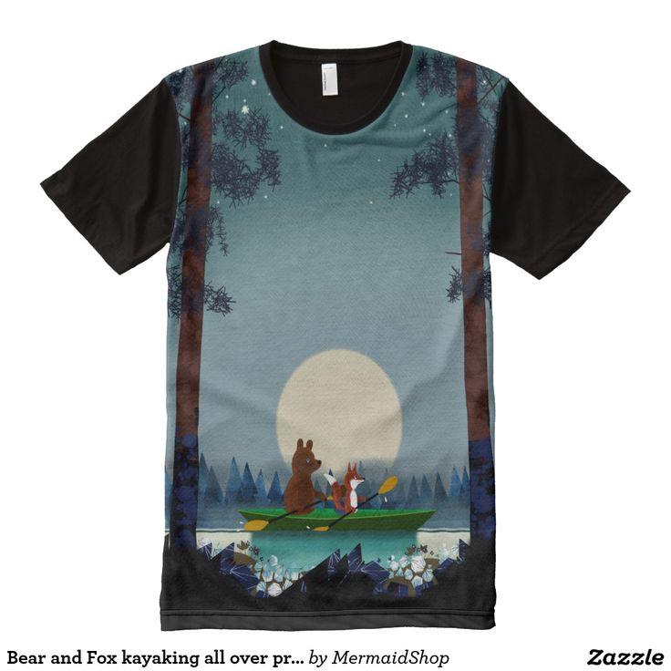 Bear and Fox kayaking all over print teeshirt All-Over Print T-shirt