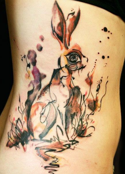 Tattoo Artist - Petra Hlavackova - animal tattoo - bunny tattoo, reminds me of Alice in Wonderland, :-D