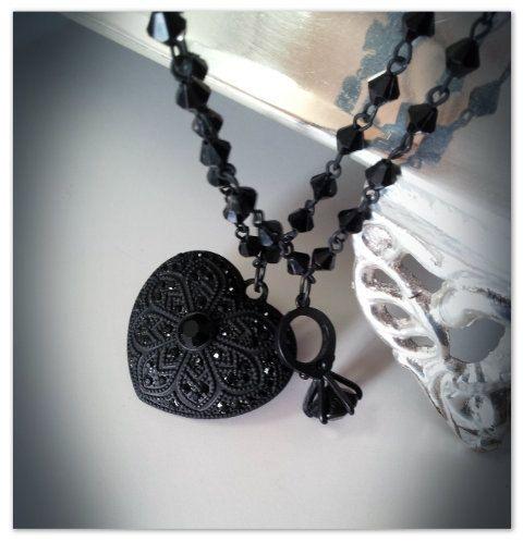 Black Wedding- Rhinestone heart pendant and black diamond ring elegant necklace victorian chic goth edwardian nouveau boho noir jewelry. $25.00, via Etsy.