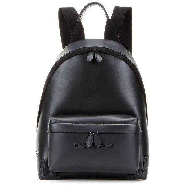 Balenciaga Leather Backpack found on Polyvore featuring bags, backpacks, black, leather rucksack, day pack backpack, leather daypack, real leather backpack and rucksack bags