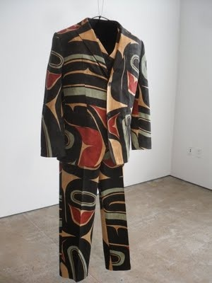 Stylin suit designed by Tommy Joseph, Tlingit.