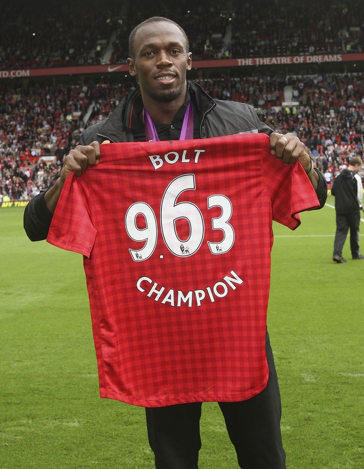 Usain Bolt, the fastest man in the world, paraded his Olympic gold medal in front of the Old Trafford crowd in August 2012. The Jamaican sprinter is a passionate @manutd fan and often shares his views on Twitter.