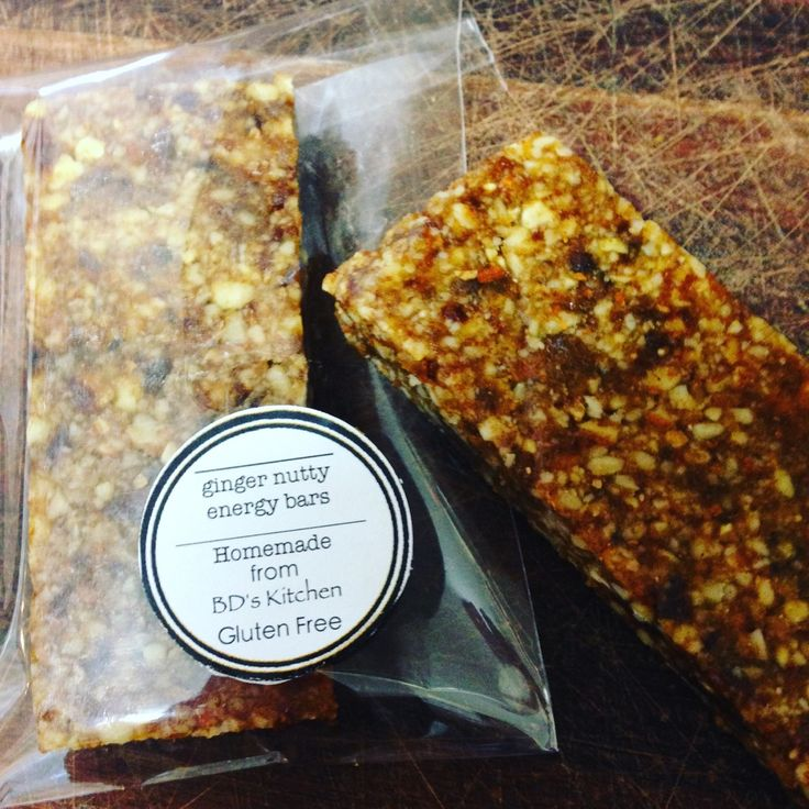 Ginger Nutty Energy Bars free from gluten and refined sugar