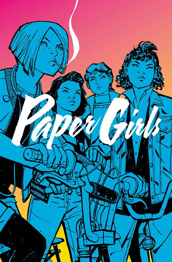 paper girls, volume 1. comic books are definitely books right?? anyway I'm in love with the art