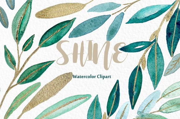 Shine gold leaves Watercolor clipart by LABFcreations on @creativemarket