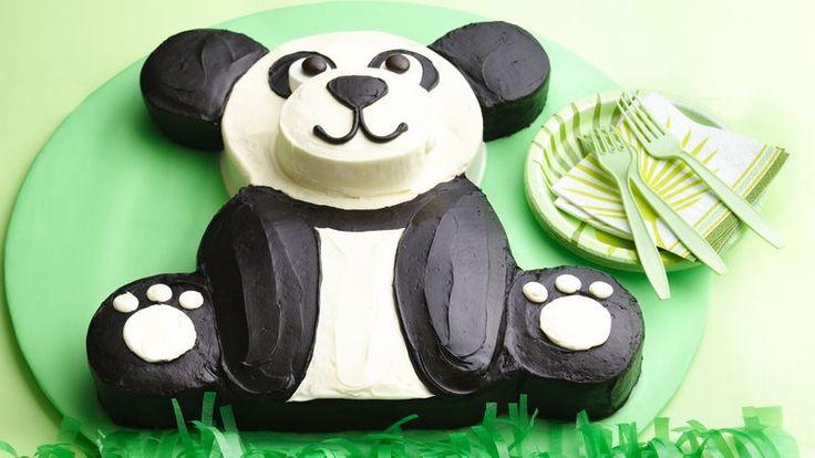 Best 25 panda cakes ideas on pinterest panda birthday for Panda bear cake template