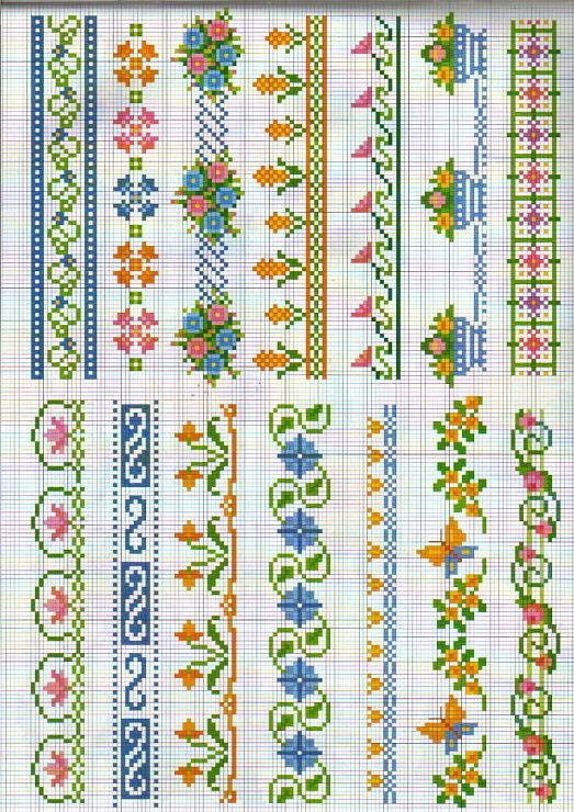 Resultat d'imatges de cross stitch flower borders