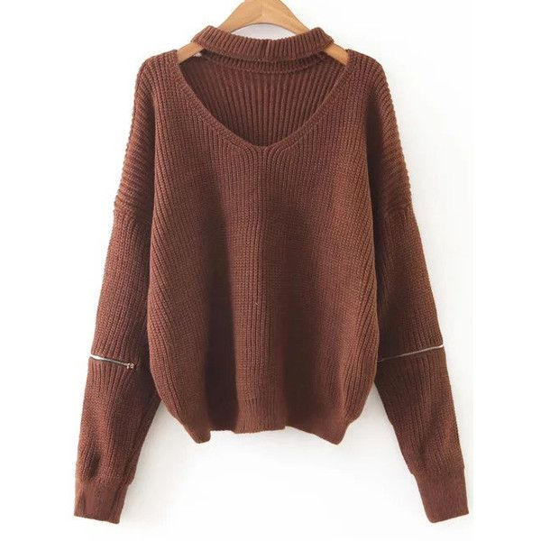 SheIn(sheinside) Coffee Choker V Neck Zipper Sleeve Sweater ($22) ❤ liked on Polyvore featuring tops, sweaters, shirts, coffee, long-sleeve crop tops, v-neck shirt, long sleeve shirts, v-neck sweater and v neck sweater