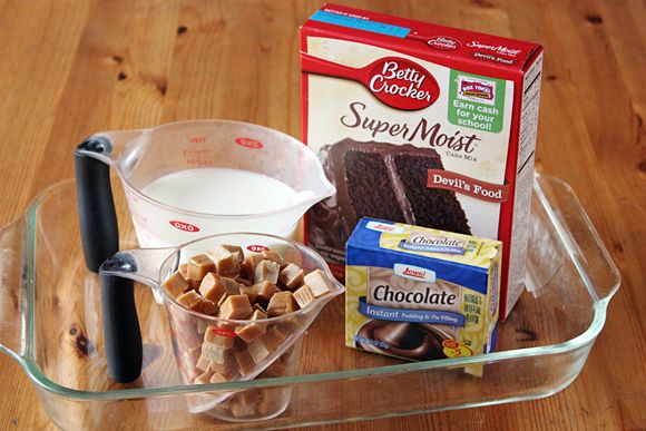 Ingredients for Salted Caramel-Chocolate Dump Cake ~ via Tablespoon {Girl Versus Dough}