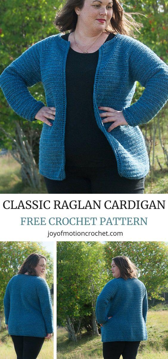 Crochet Classic Raglan Cardigan Free Crochet Pattern Crochet
