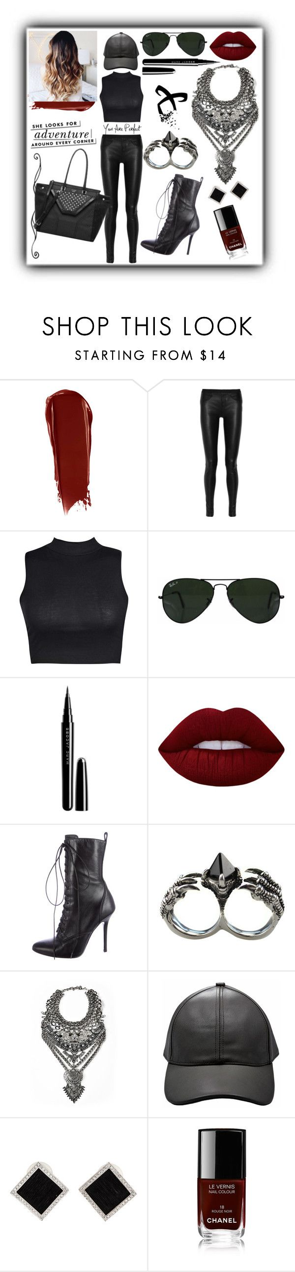"""""""Huntress"""" by nsrogsy3 ❤ liked on Polyvore featuring NARS Cosmetics, Helmut Lang, Boohoo, Ray-Ban, Marc Jacobs, Lime Crime, Giuseppe Zanotti, KD2024, Kate Spade and Yvel"""