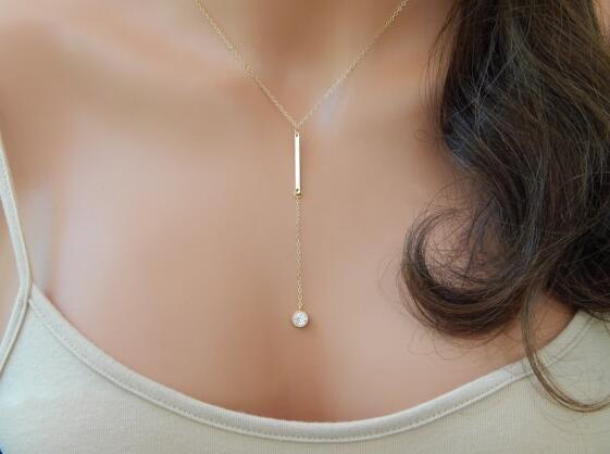 Nuovi accessori moda Semplice monili di cristallo Bar pendente della collana per le donne ragazza bel regalo all'ingrosso N058