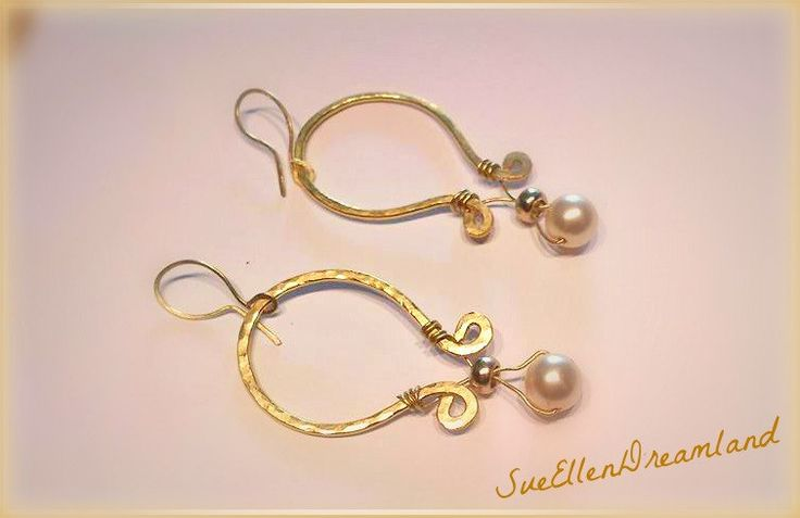 SALE 2017  Boho dangling hanging handmade earrings  forged brass wire, pearls, Classic ,charming earrings,gift for her,EGST, Greek shop by SueEllenDreamland on Etsy