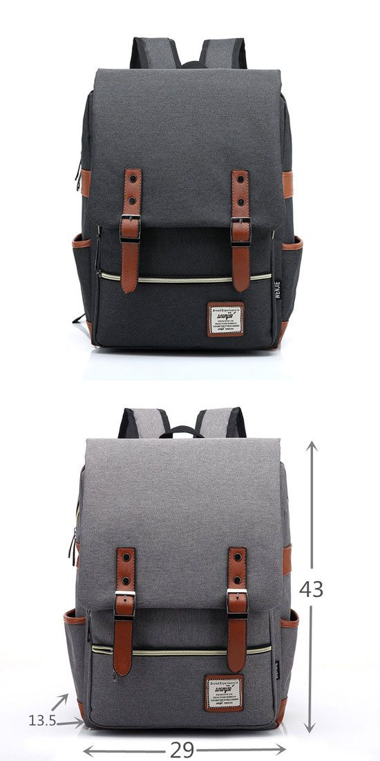 I like the gray! Vintage Canvas Travel Backpck Leisure Backpack&Schoolbag #backpack #bag #canvas #rucksack #gray #college #school