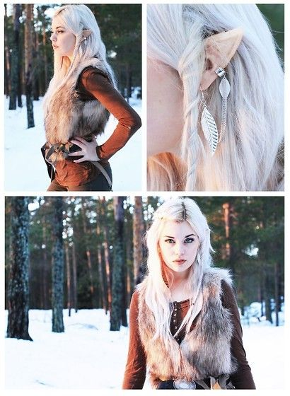 H&M Fur Vest, Brown Sweater, Brown Pants, Cufflink Silver Leaf Earring, Diy Latex Elf Ears, Belt, Teknikmagasinet Green Contact Lenses