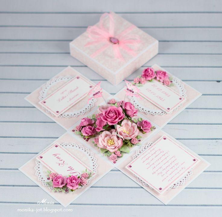 Dla odmiany od klimatów świątecznych mam dziś dla Was delikatny exploding box z motylkami.      Kwiaty pochodzą z Wild Orchid Crafts: piękne...