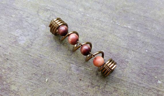 Dread Bead, Tarnished Brass, Wood Beads, Earthy Feel, Dreadlock Bead…