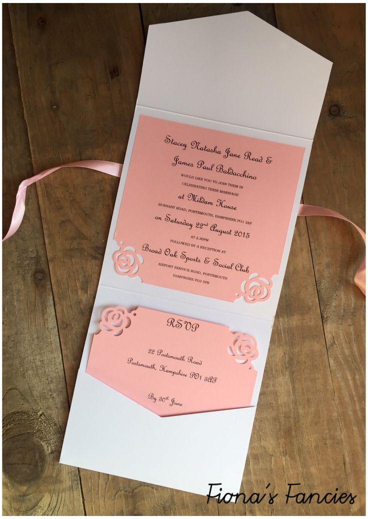 Pocketfold Wedding Invitations, Pink Roses