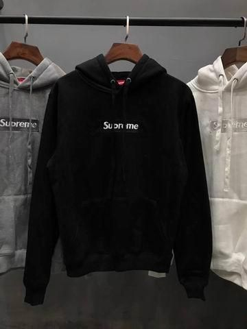 4b42aa25388f Supreme Pullover Hoodie Sweater BLACK Embroidery Logo Fleece