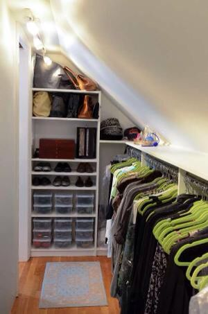Small closet with pitched ceiling