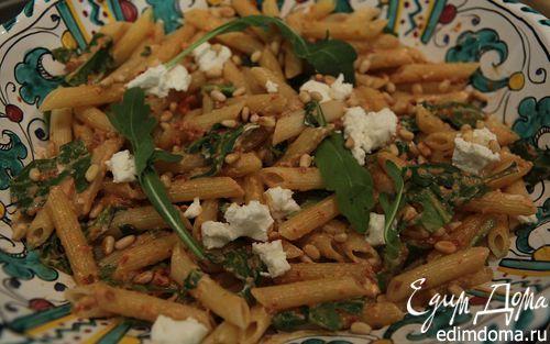 Салат из макарон с козьим сыром, вялеными помидорами и руколой  | Кулинарные рецепты от «Едим дома!»