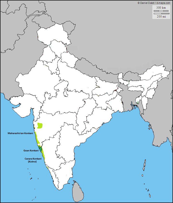 Distribution of the Konkani Language in India