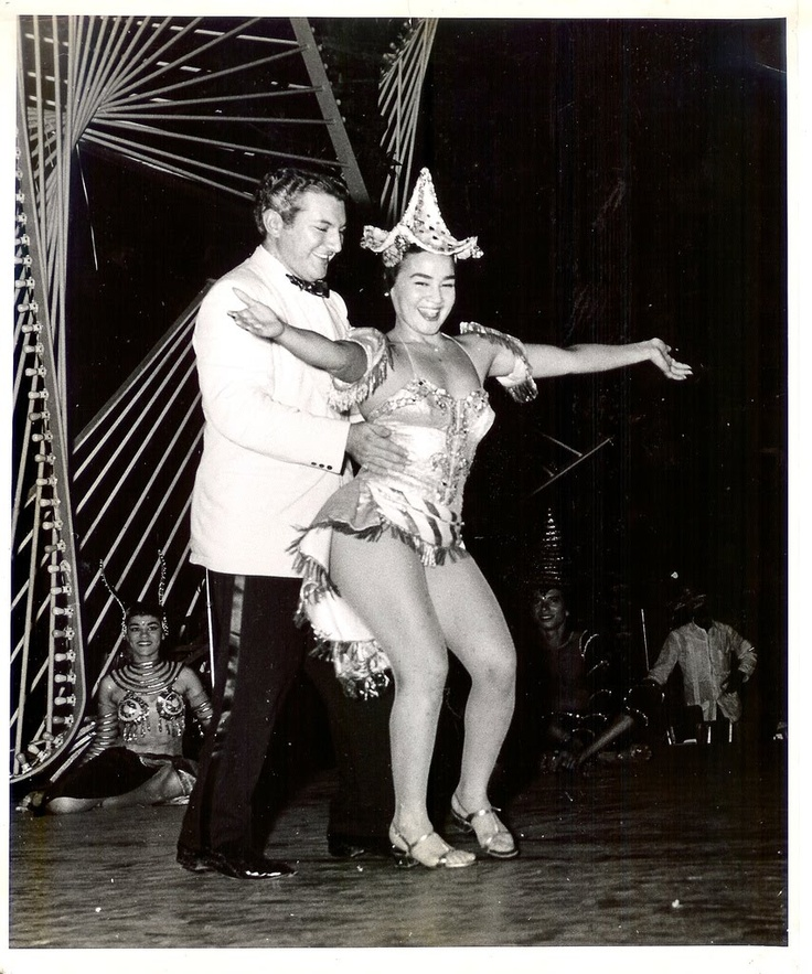 """Liberace at the Tropicana, Havana -Liberace never performed there officially, but took to the stage with mambo star Ana Gloria Varona on the one day in 1955 that he held a large party for the Cuban press corps. Heralded as a """"Paradise Under the Stars"""","""