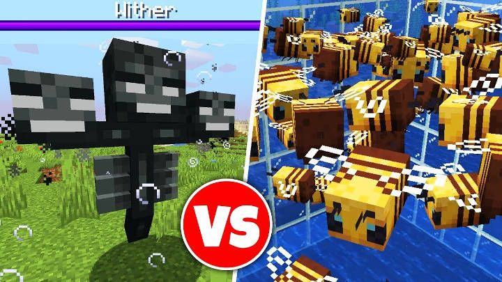 Minecraft 100 Bees Vs Wither Boss Wither Boss Minecraft