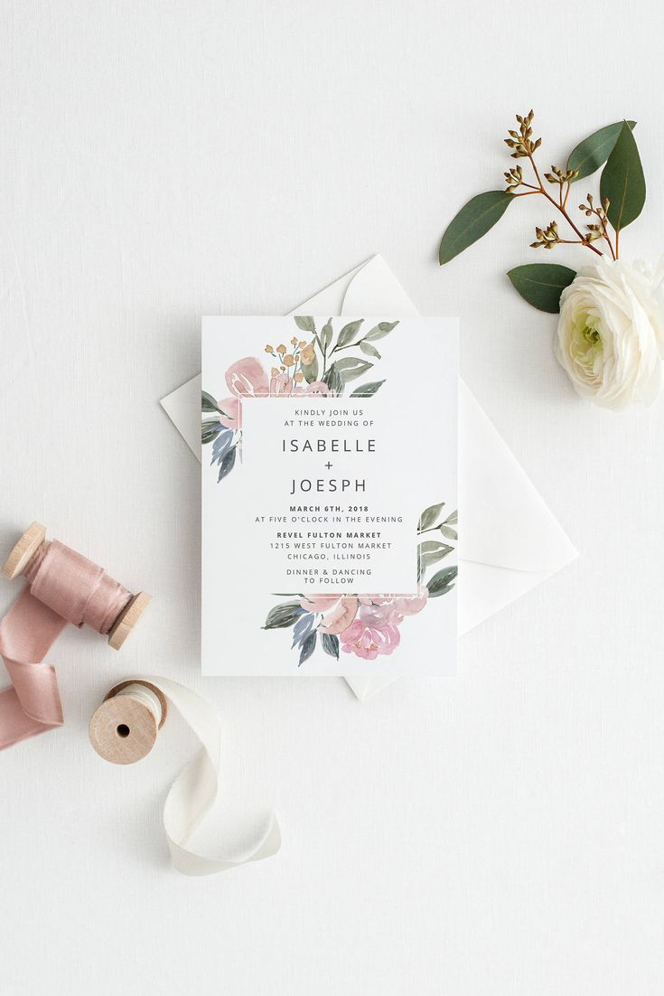 Blush Wedding Invitation, Printable Wedding Invitation, Vintage Floral Wedding Invitation, Wedding Invitation Template, Watercolor Wedding