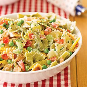 Garden Pasta Salad - I made this while we were in Hilton Head.  It is really good but a little bland.  I would recommend adding some red onion.  The sauce needs something to add a little bit a flavor but I'm not sure what.  My husband says red pepper but I don't like spice.