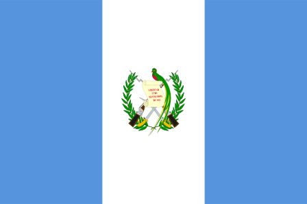 The flag of Guatemala was officially adopted on August 17, 1871. The blue and white are the original colors used by the United Provinces of Central America. The coat of arm (centered on white) was adopted in 1968 and features the quetzal bird, a symbol of liberty, perched on the Declaration of Independence