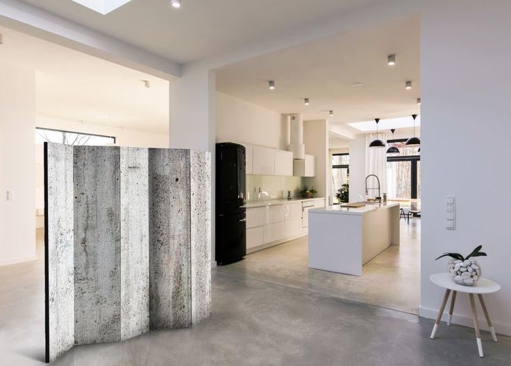 Un mur mobile en béton sera une solutions parfaite dans tous les intérieurs spacieux !  #paravents #paravent #béton #styleindustriel #loft #moderne #gris #bimago