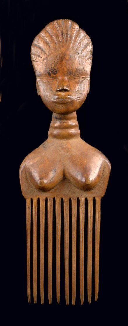 Africa | Comb from the Ashanti people of Ghana | Wood, honey brown patina