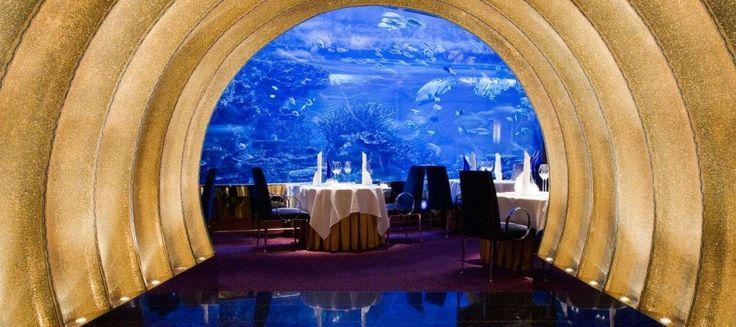 Al Mahara, 'The Oyster Shell' in Arabic, doesn't just tantalise your palate; it's a dining experience that will stimulate all your senses. The stunning floor to ceiling aquarium inside the restaurant sets the scene for a meal where only the best will do. http://www.destinationdubai.tv/restaurent-al-mahara-burj-al-arab-321.htm