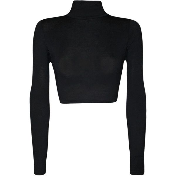 WearAll Harmony Turtle Neck Crop Top ($12) ❤ liked on Polyvore featuring tops, crop tops, black, black top, black long sleeve turtleneck, crop top, long sleeve tops and turtleneck tops