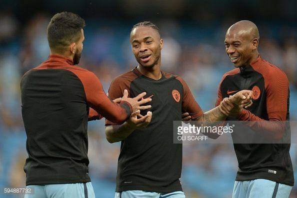 Manchester City's Argentinian striker Sergio Aguero Manchester City's English midfielder Raheem Sterling and Manchester City's Brazilian midfielder...