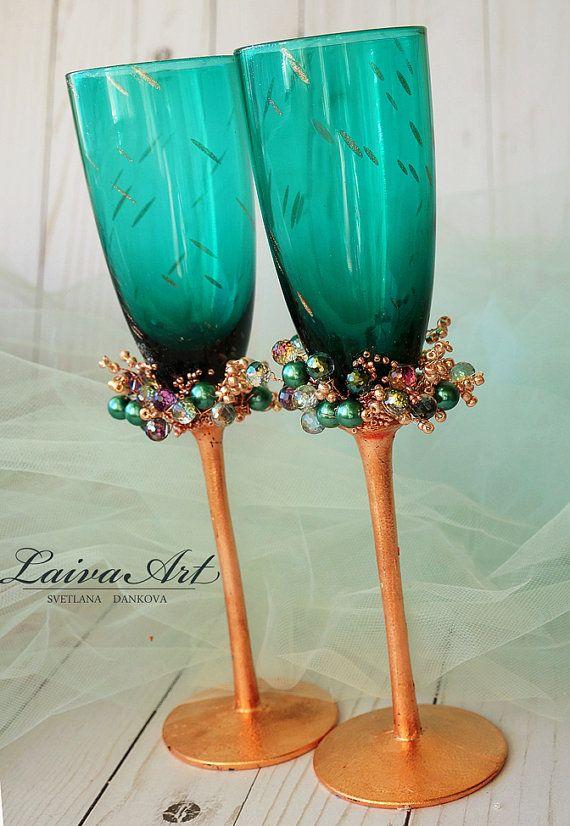 Boda flautas boda champán gafas tostado flautas de por LaivaArt