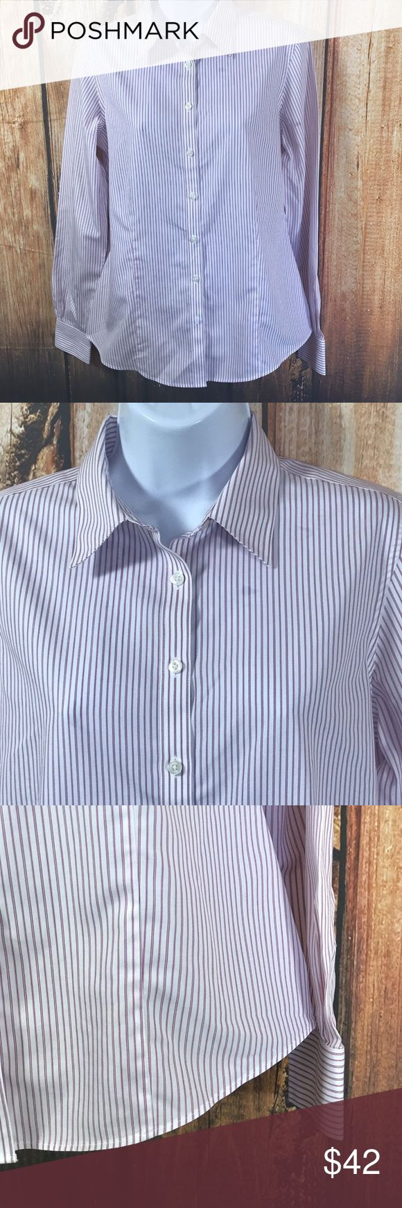 "Brooks Brothers 346 Classic Fit Non Iron Shirt Brooks Brothers 346 Classic Fit Non Iron Striped Button Front Shirt  Great shirt by Brooks Brothers  Button Front  Long Sleeves  100% Cotton  Size 6  Measures 19"" across bust  Measures 26"" long, from center back  Sleeves measure 24.5"" from shoulder seam  Gently worn, good condition Brooks Brothers Tops Button Down Shirts"