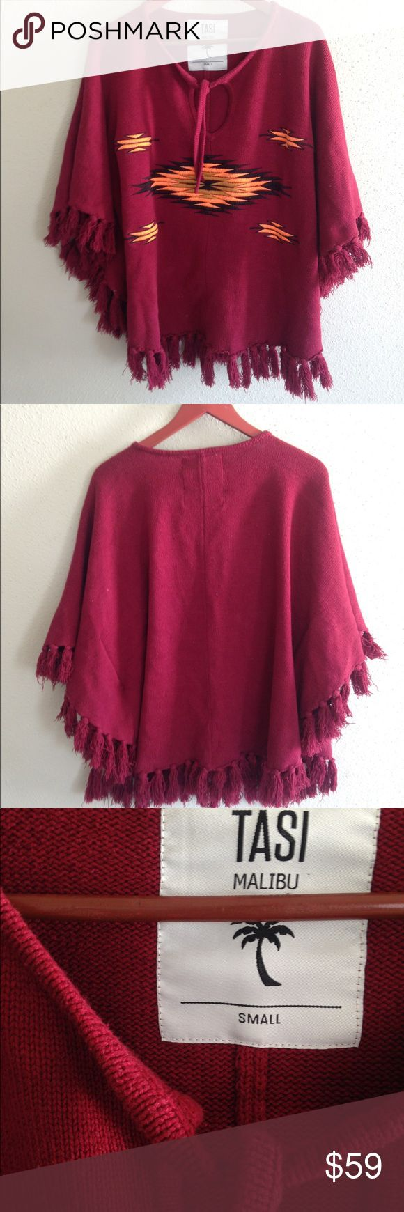 Tasi 🌴 Malibu Red Cruz Pullover Poncho Super cute, warm poncho in excellent condition. Not super heavy but would keep you warm on a chilly night out. Adorable and unique. Oversized. Was sold on the Free People website. Free People Sweaters Shrugs & Ponchos