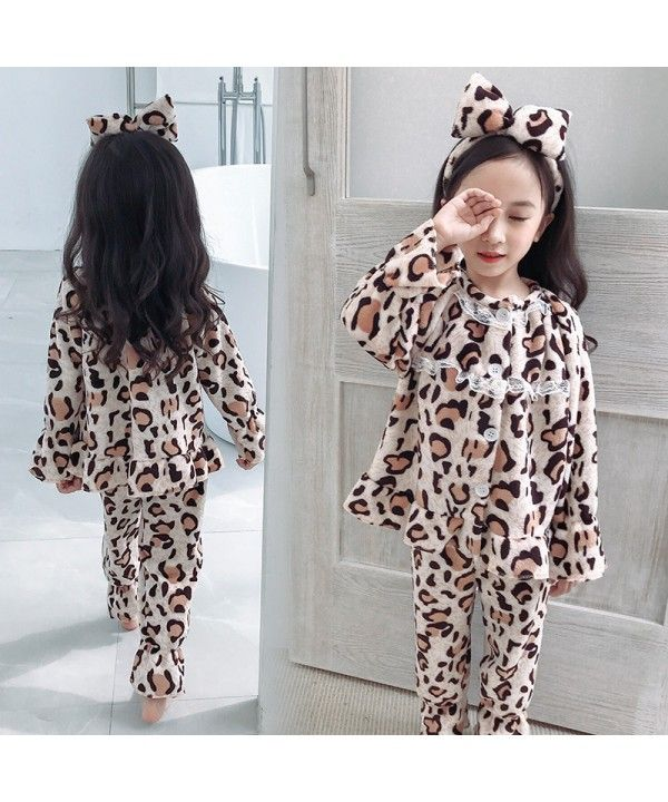 Fashion Leopard Print Girl S Pajamas Suit Autumn And Winter