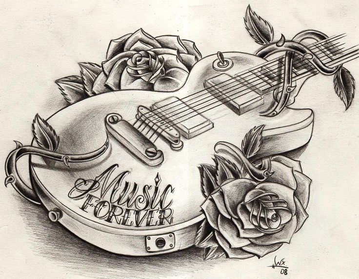 Guitar Tattoo Drawing Ideas Pinterest Drawings