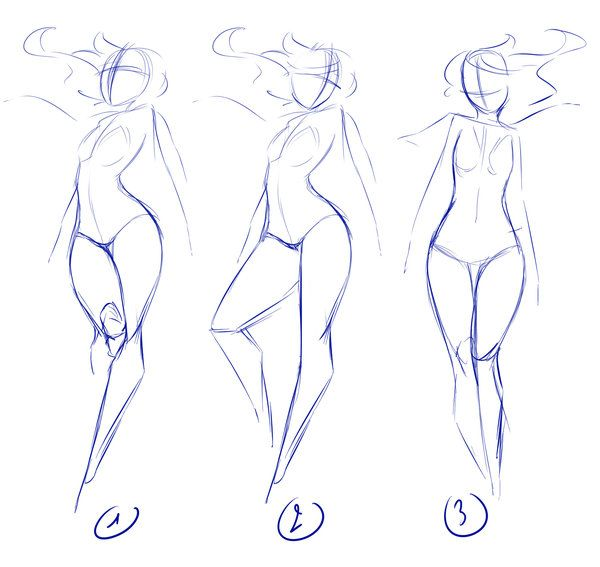 Useful lineart style for getting proportions and pose correct -Poses by rika-dono on deviantART